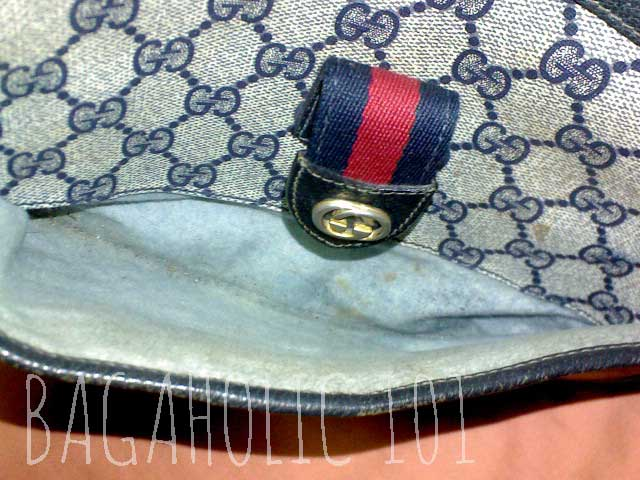 a8b9bc5beb370 A scraped lining of a vintage Gucci accessory collection bag – Tips on Original  Gucci Bags on Sale – How to Tell if a Gucci Bag is Real