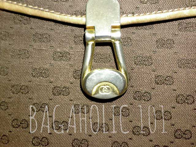 A vintage Gucci bag with gold tone hardware engraved with GG - Tips on Original Gucci Bags on Sale - How to Tell if a Gucci Bag