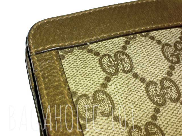 c3546d39198 Close-up of a GG monogram canvas in a vintage Gucci Accessory Collection