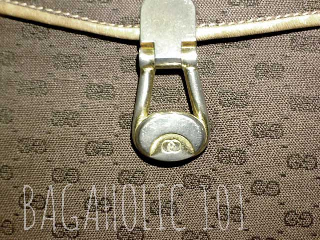 Close-up of the goldtone hardware - Vintage Gucci Bag Authentication - Gucci Serial Number Check - How to Tell if a Gucci Bag is Real