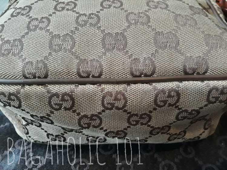 Even with a piping, the seams still match in Gucci monogram canvas bag - Tips on Original Gucci Bags on Sale - How to Tell if a Gucci Bag is Real