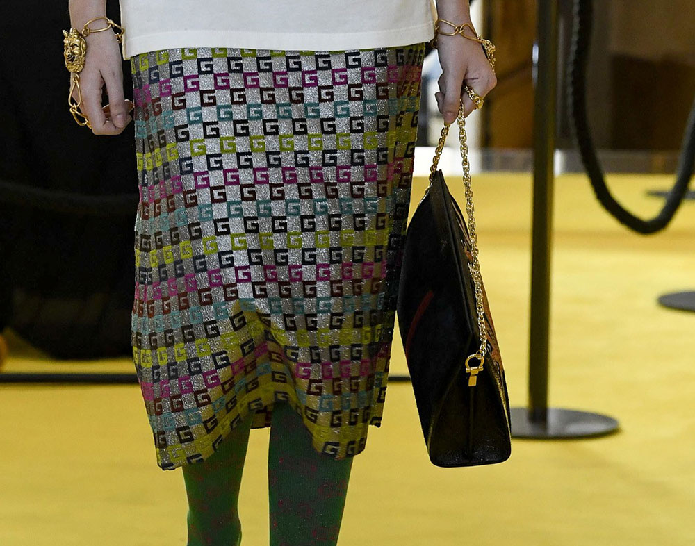 G print used on a skirt from the Gucci Resort 2018