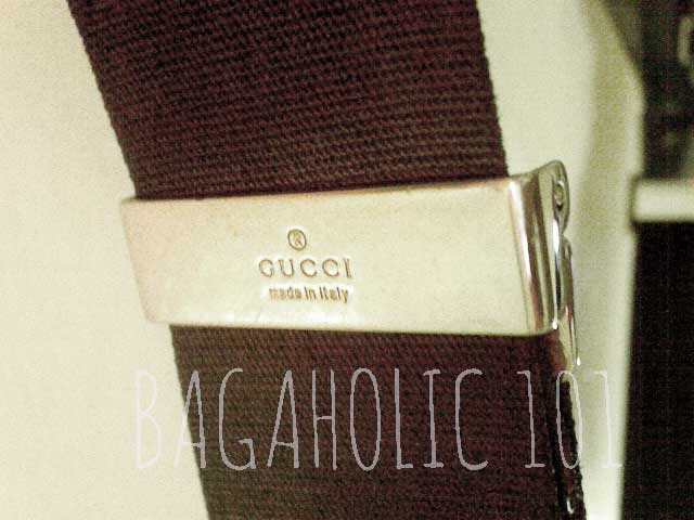 GUCCI made in italy engraved on the strap hardware of a Gucci crossbody bag - Tips on Original Gucci Bags on Sale - How to Tell if a Gucci Bag