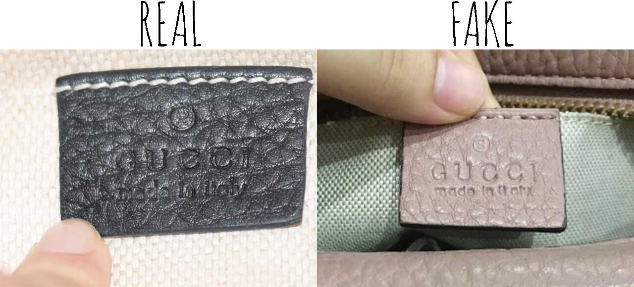 Gucci leather tag - Comparing a Real vs. Fake Gucci Soho bag - Tips on Original Gucci Bags on Sale - How to Tell if a Gucci Bag is Real