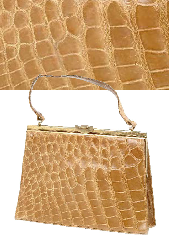 Honey Colored Crocodile Skin Handbag Mid 1930s