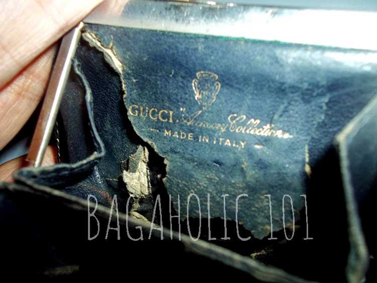 Inside of the wallet with the Gucci Vintage Accessory Collection in gold - Vintage Gucci Bag Authentication - Gucci Serial Number Check - How to Tell if a Gucci Bag is Real