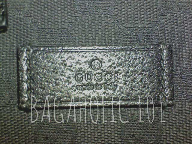 Leather rectangle tag on black Gucci monogram canvas - Tips on Original Gucci Bags on Sale - How to Tell if a Gucci Bag is Real