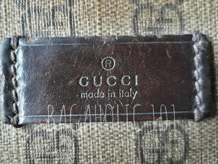 Leather rectangle tag on brown Gucci monogram coated canvas - Tips on Original Gucci Bags on Sale - How to Tell if a Gucci Bag is Real