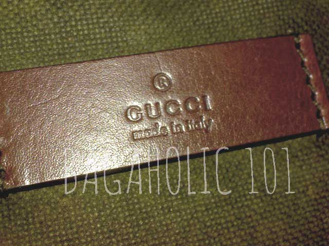 Leather rectangle tag on brown Gucci on heavy cotton canvas - Tips on Original Gucci Bags on Sale - How to Tell if a Gucci Bag is Real