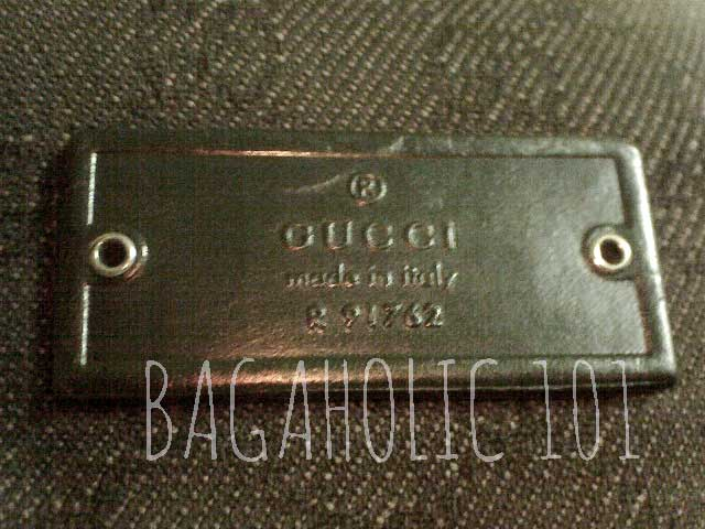 Leather rectangle tag with studs on denim Gucci monogram - Tips on Original Gucci Bags on Sale - How to Tell if a Gucci Bag is Real