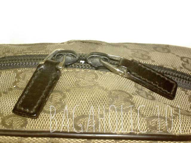 2e5531fa927 Standard plain leather zipper pull on a brown Gucci monogram canvas bag - Tips  on Original