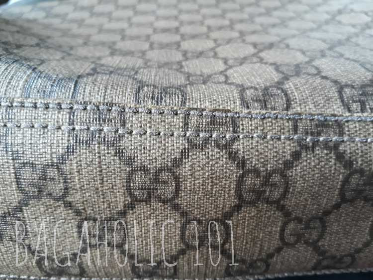 The seams at the bottom of a Gucci monogram coated canvas bag - Tips on Original Gucci Bags on Sale - How to Tell if a Gucci Bag is Real