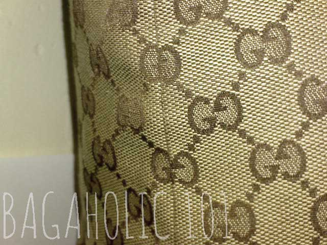 The seams of a brown Gucci monogram canvas bag - Tips on Original Gucci Bags on Sale - How to Tell if a Gucci Bag is Real