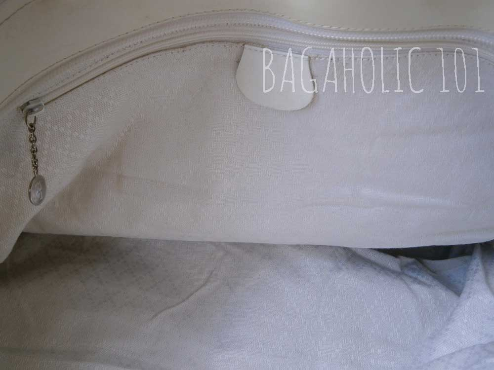 White diamante lining of an authentic Gucci bag - Tips on Original Gucci Bags on Sale - How to Tell if a Gucci Bag is Real