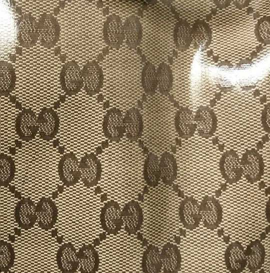 Close-up of a Gucci crystal monogram material
