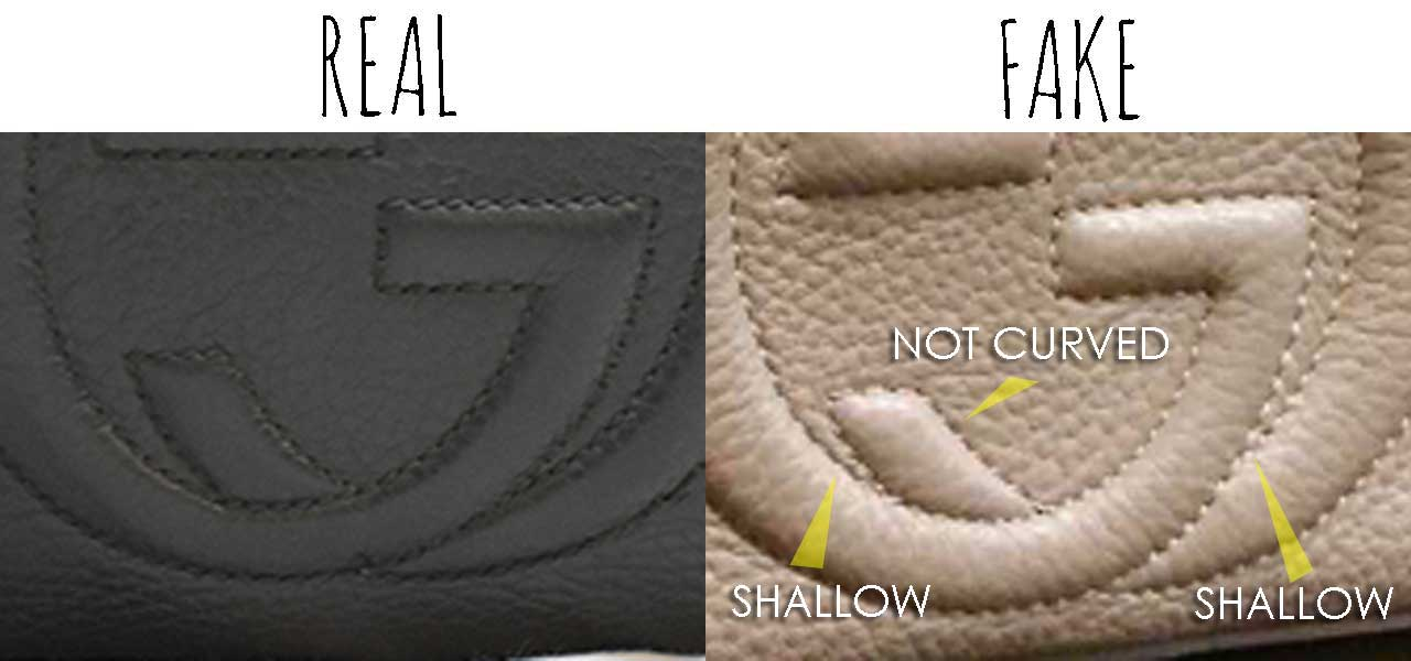 9fc1a1fd2 GG Interlocking details - Comparing a Real vs. Fake Gucci Soho bag - Tips on