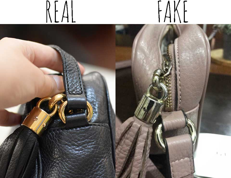 Leather tassle and hardware -Comparing a Real vs. Fake Gucci Soho bag - Tips on Original Gucci Bags on Sale - How to Tell if a Gucci Bag is Real
