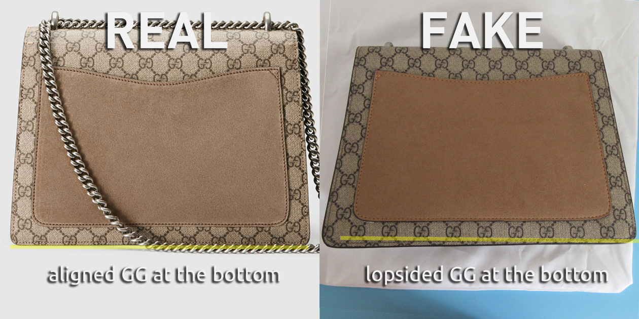 Alignment of GG at the bottom of the Monogram Canvas