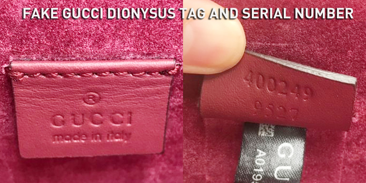 Fake Gucci Dionysus Leather Tag and Serial Number 400249 9527