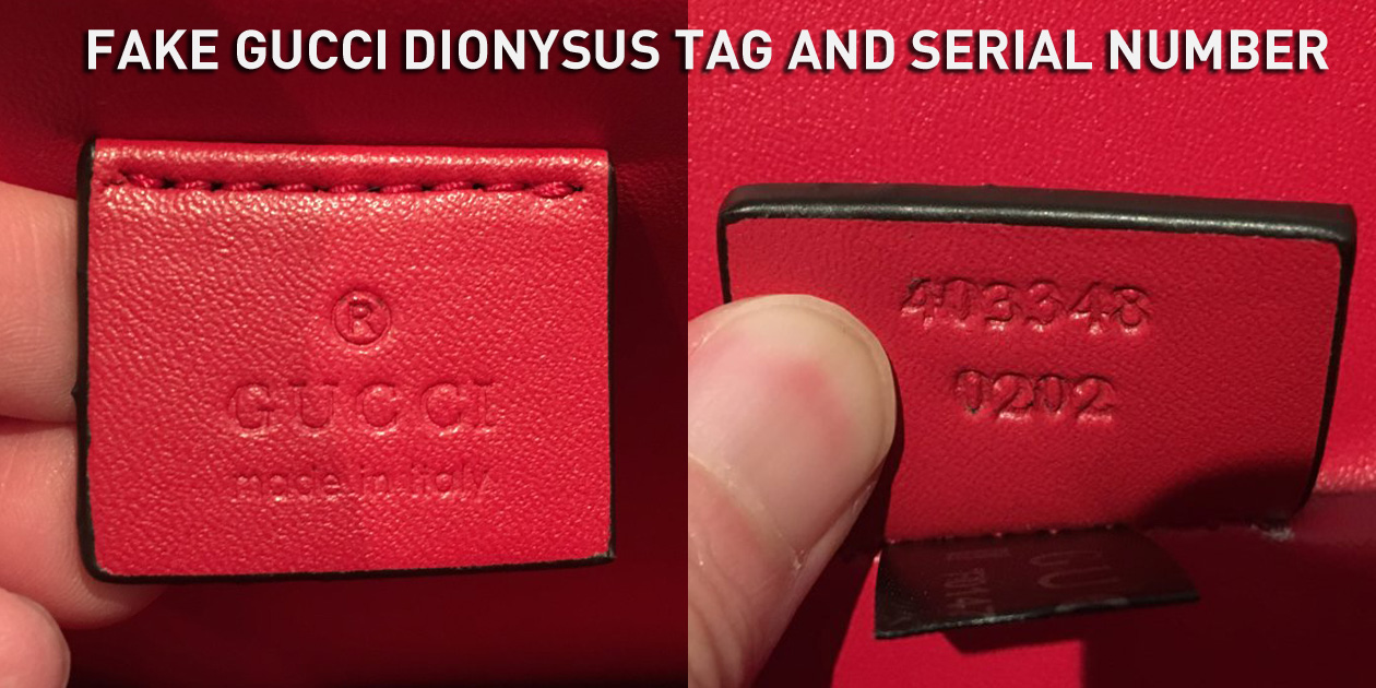 Fake Gucci Dionysus Leather Tag and Serial Number 403343 0202