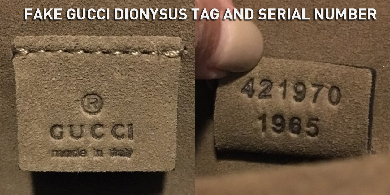 Fake Gucci Dionysus Leather Tag and Serial Number 421970 1965