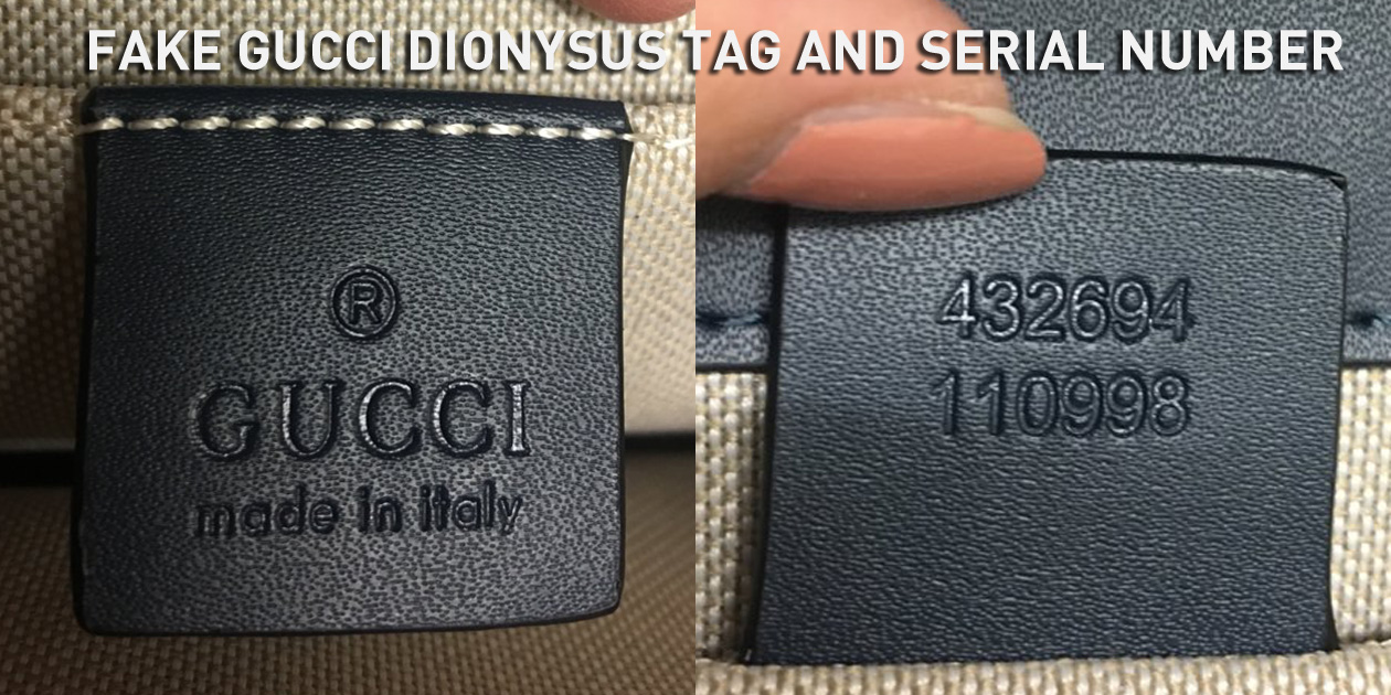 Fake Gucci Dionysus Leather Tag and Serial Number 432694 110998