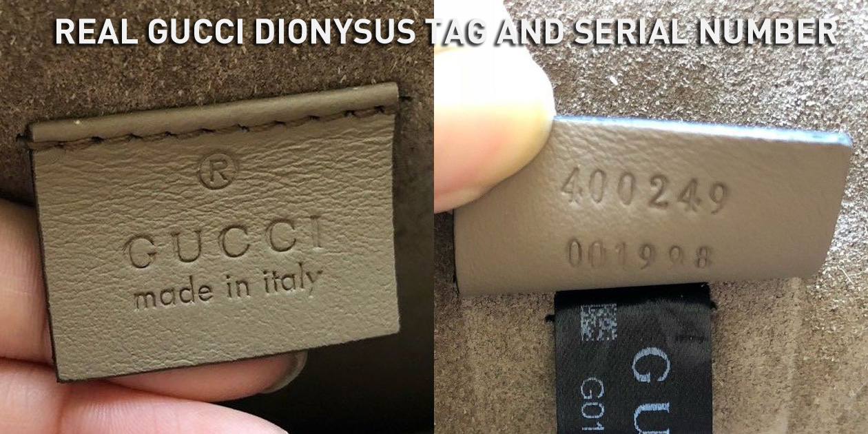 Real Authentic Gucci Dionysus Leather Tag and Serial Number 400249 001998