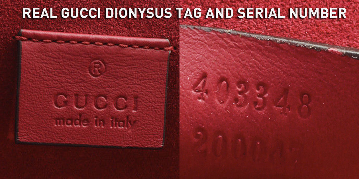 Real Authentic Gucci Dionysus Leather Tag and Serial Number 403348 200047