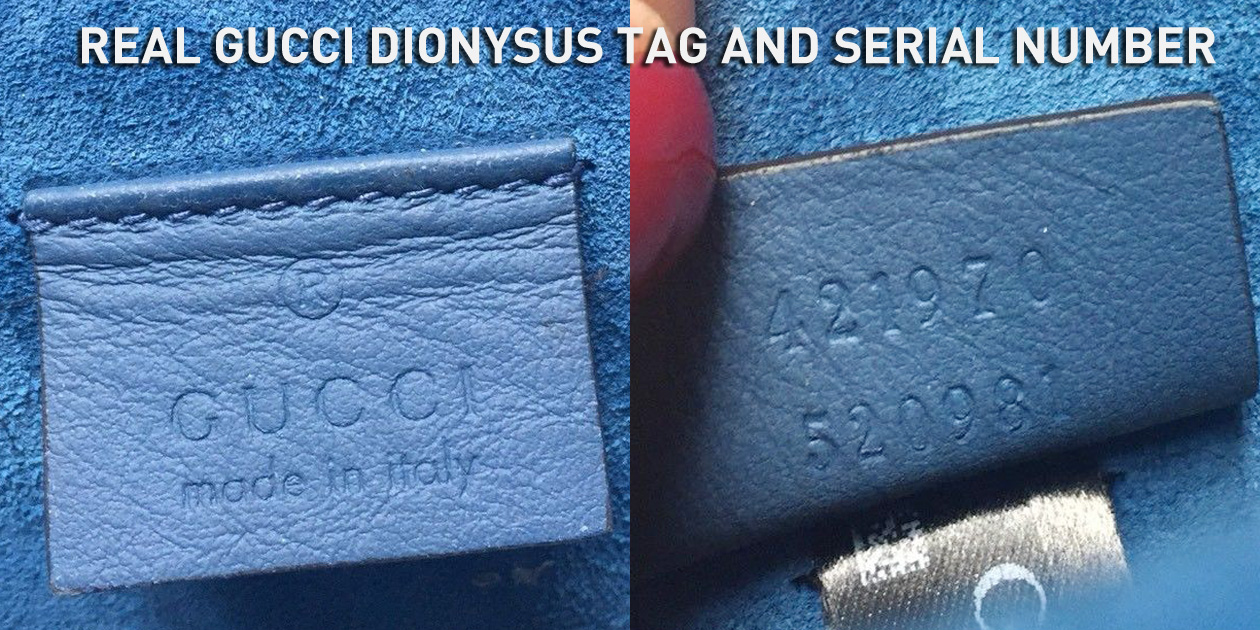 Real Authentic Gucci Dionysus Leather Tag and Serial Number 421970 520981