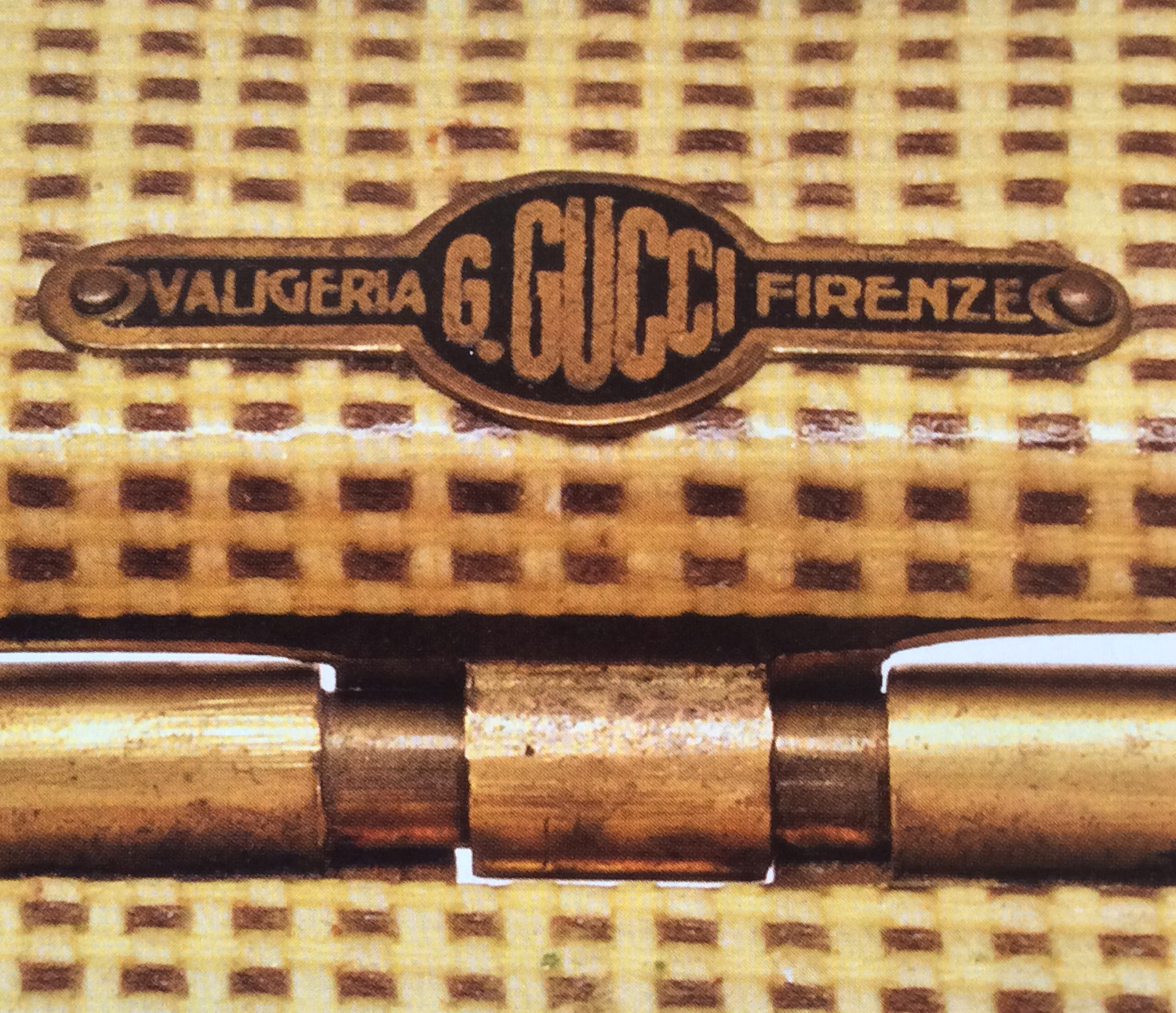 Bagaholic 101 - Gucci Heritage, Icons, and Beyond - 1930s luggage interior showing all caps in metal plaque with 'VALIGERIA G. GUCCI FIRENZE'