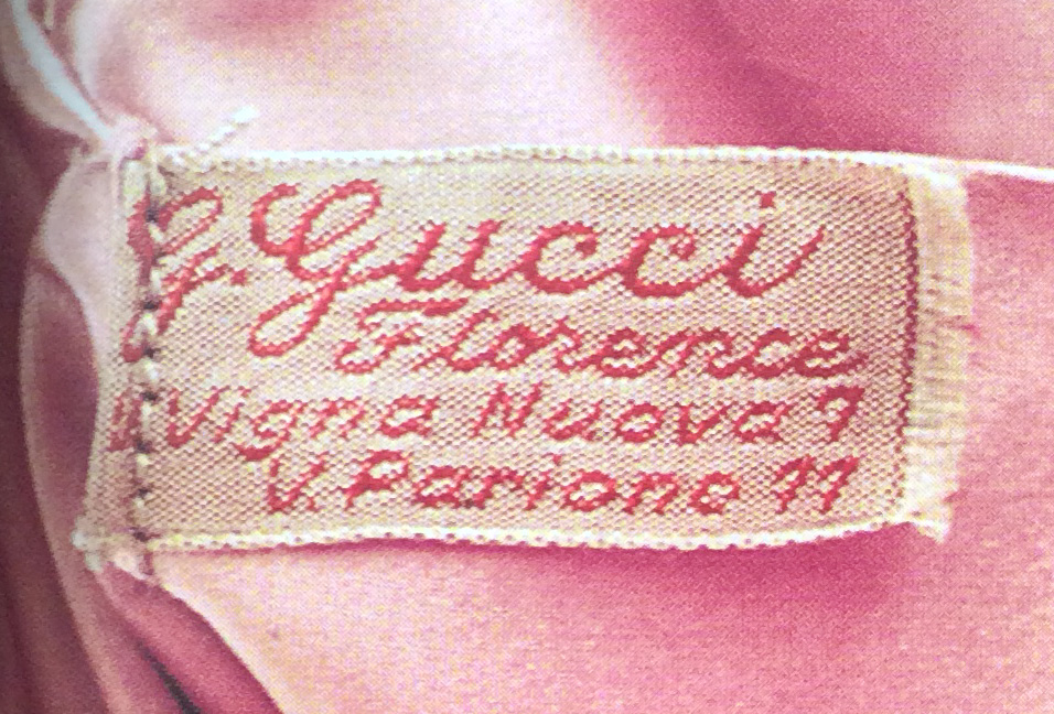 Bagaholic 101 - Gucci Heritage, Icons, and Beyond - 1940s bag interior showing cursive 'G. Gucci Florence V. Vigna Nuova 7 V. Parione 11' embroidered in cotton