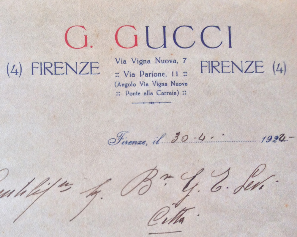 Bagaholic 101 - Gucci Heritage, Icons, and Beyond - April 30, 1924 letter by Guccio Gucci, showing the addresses in Via Vigna Nuova 7