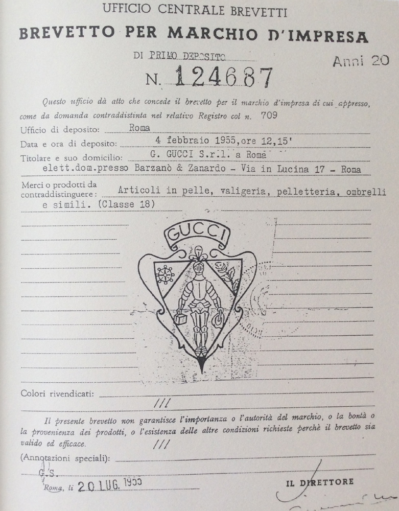 Bagaholic 101 - Gucci Heritage, Icons, and Beyond - Gucci's Patent 124687 under Guccio Gucci, showing the Gucci crest - a knight in armor holding 2 suitcases, and a flower, wheel, and ribbon with 'Gucci' above it