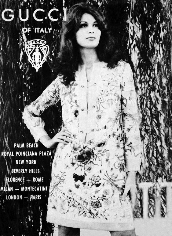 1970s Gucci print ad showing silk dress in Flora print - Vintage Gucci advertising campaigns archive