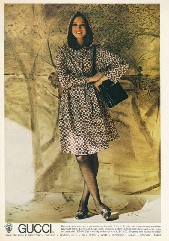 1970s Gucci print ad with a hooded Gucci silk dress in horsebit print - Vintage Gucci advertising campaigns archive