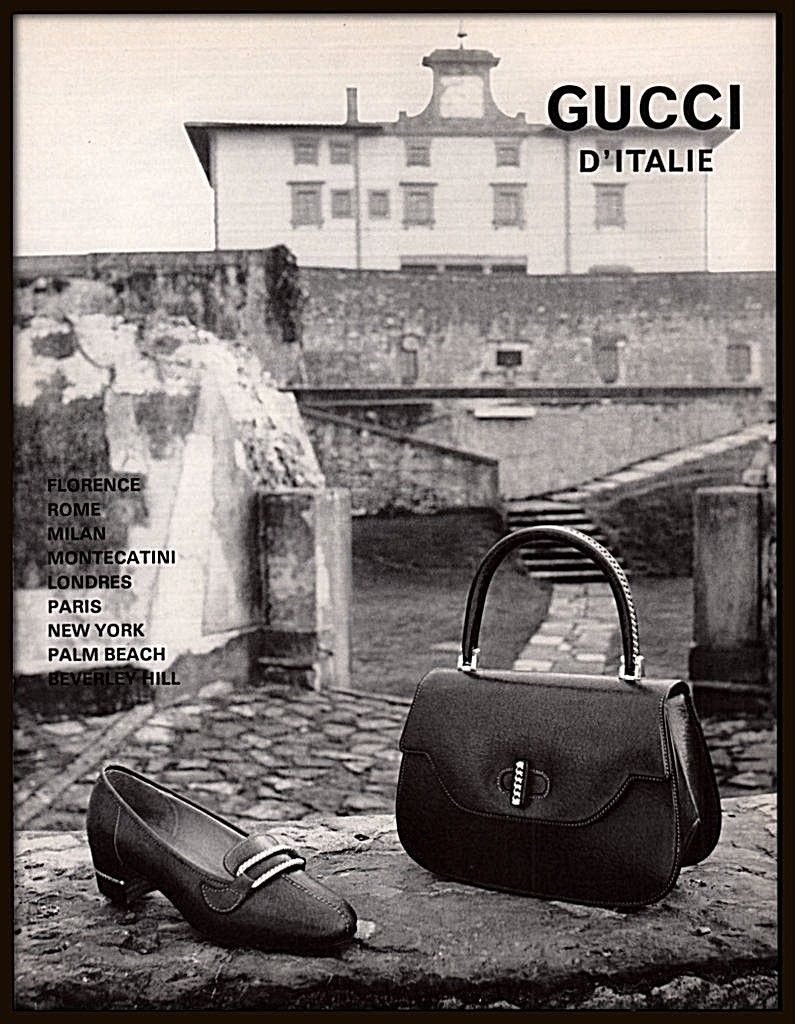 1971 Gucci d'Italie print advertisement (in French) - Vintage Gucci advertising campaigns archive