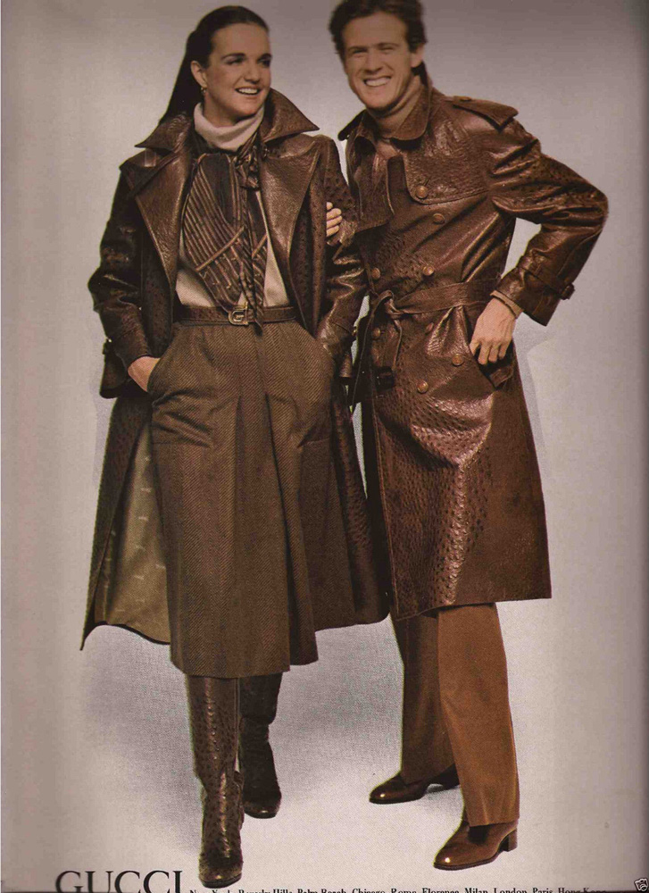 1977 Gucci leather trench coat print ad - Vintage Gucci advertising campaigns archive