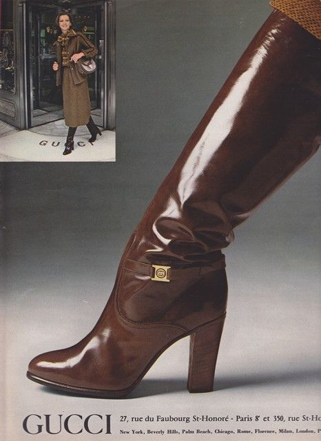 1977 Gucci print ad showing a knee-high patent pair of boots with gold hardware - Vintage Gucci advertising campaigns archive