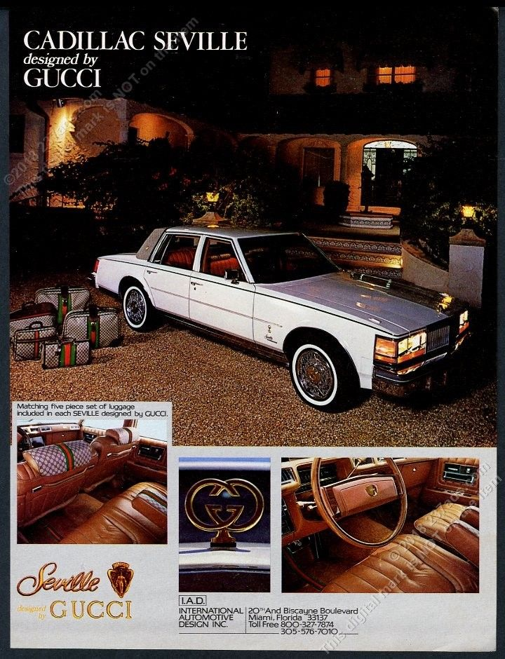 1979 Gucci-designed Cadillac Seville print advertisement - Vintage Gucci advertising campaigns archive