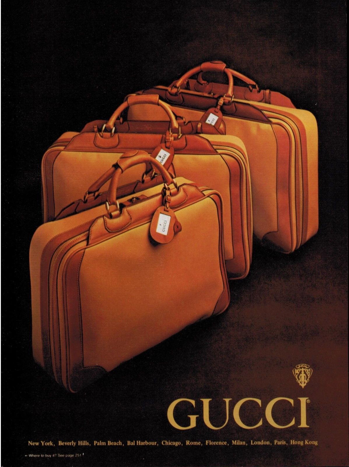 1979 Gucci leather luggage set with ID tags print ad - Vintage Gucci advertising campaigns archive