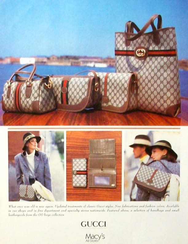 1980s vintage Gucci Accessory Collection for Macy's advertisement showing an assortment of monogram canvas bags - Vintage Gucci advertising campaigns archive