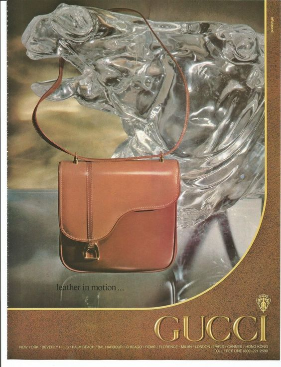 1981 Gucci ad showing a patent leather saddle bag with gold hardware - Vintage Gucci advertising campaigns archive