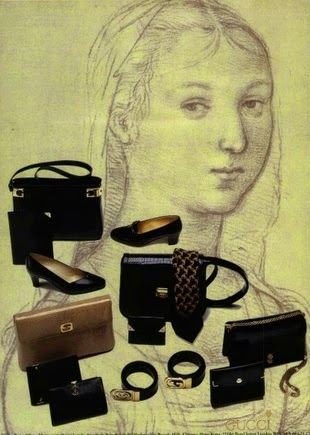 1982 Gucci print ad showing bags, shoes, wallets, and ties over a sketch background - Vintage Gucci advertising campaigns archive