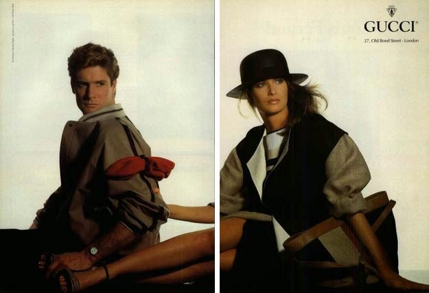 1983 Gucci ad with the London address, and a Gucci baiadera print bag - Vintage Gucci advertising campaigns archive