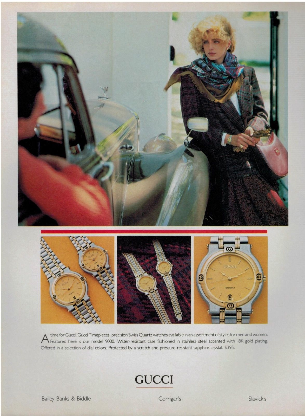 1985 Gucci Timepiece print advertisement - Vintage Gucci advertising campaigns archive