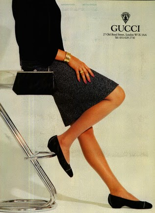 1985 Gucci print ad showing both a handbag and RTW - Vintage Gucci advertising campaigns archive