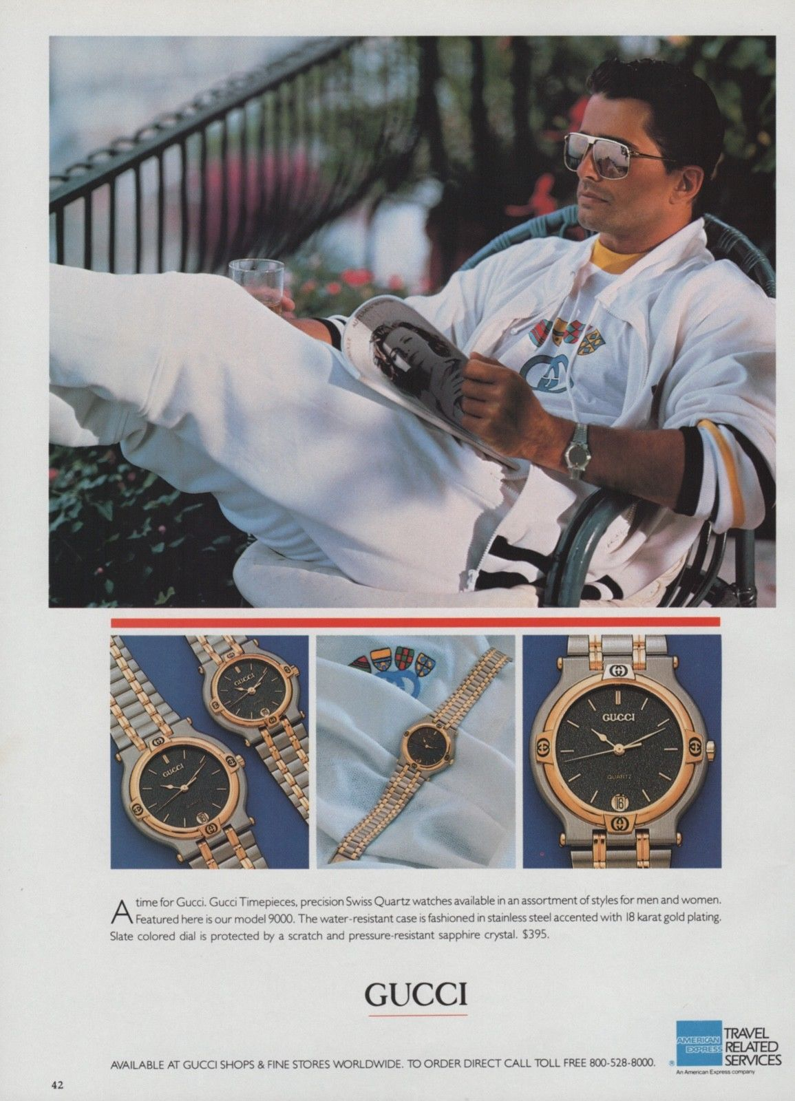 1986 Gucci Model 9000 Swiss quartz watch print ad - Vintage Gucci advertising campaigns archive