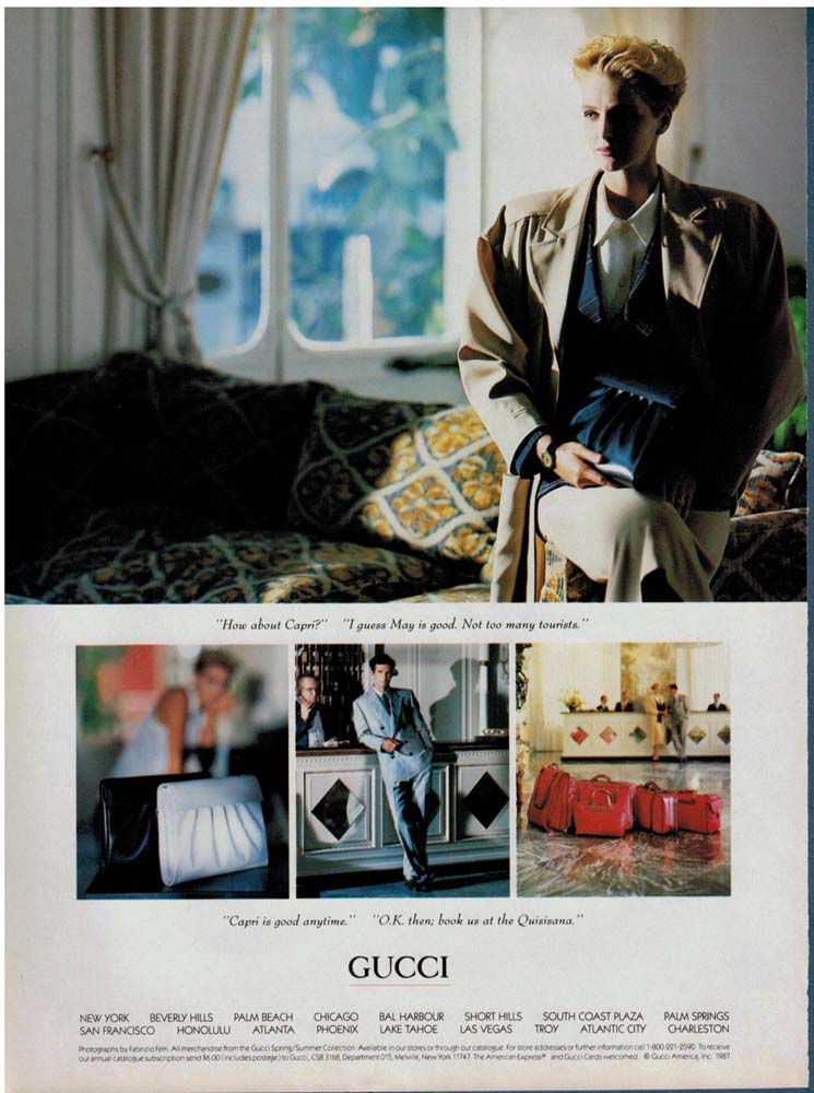 1987 Gucci bag print advertisement - Capri at the Quisisana Magazine