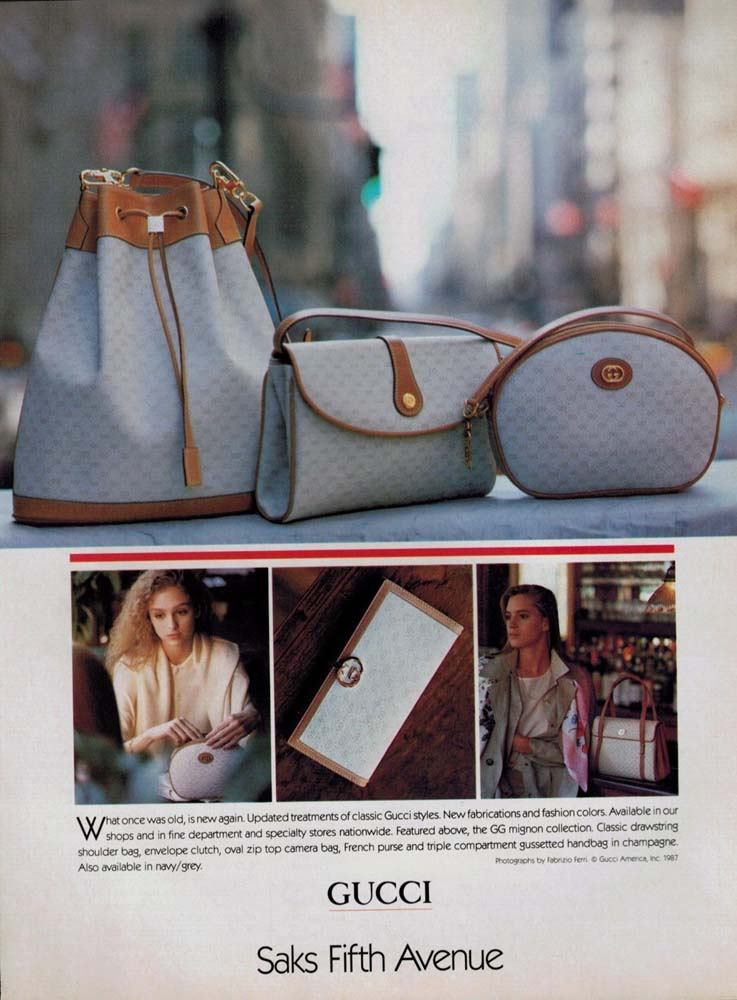 1987 Gucci bags print advertisement for Saks Fifth Avenue - Vintage Gucci advertising campaigns archive