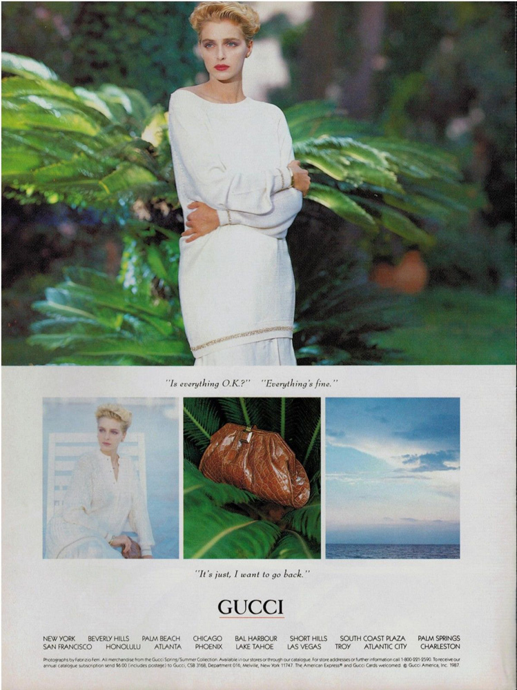 1987 Gucci print advertisement showing an exotic skin clutch - Vintage Gucci advertising campaigns archive